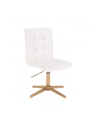 KRIS C - Biały taboret kosmetyczny obrotowy - złoty krzyżak