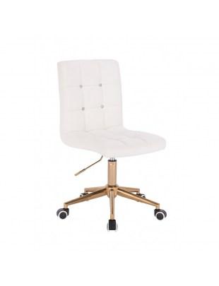 KRIS C - Białe krzesło kosmetyczne obrotowe - kółka złote