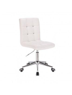 KRIS C - Białe krzesło kosmetyczne obrotowe