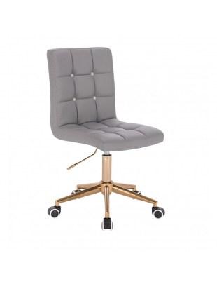 KRIS C - Szare krzesło kosmetyczne obrotowe - kółka złote