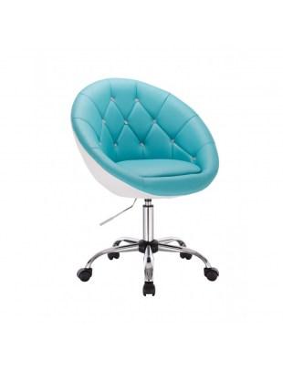 BOL CRISTAL - Fotel fryzjerski na kółkach turkusowo-biały