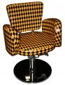 Fotel fryzjerski Cesano 1367 - czarno-pomarańczowy