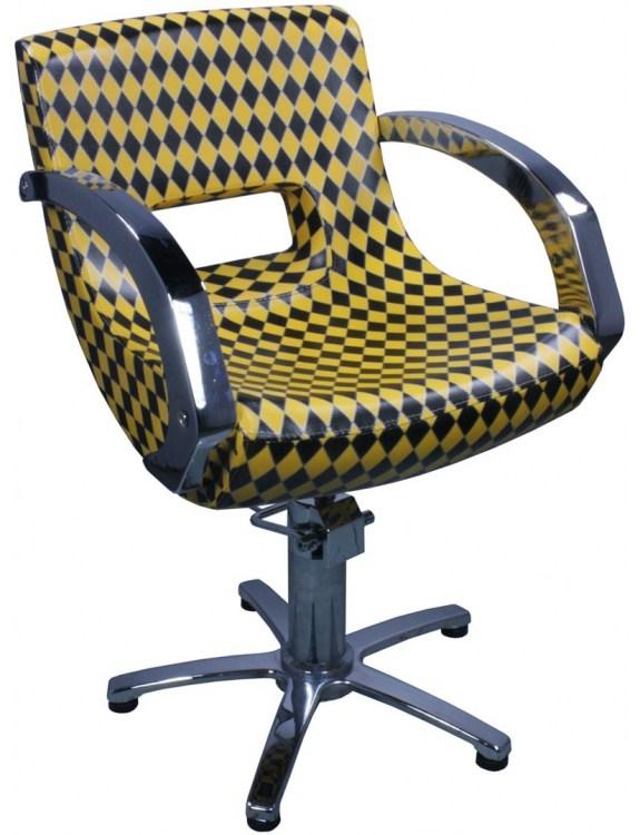 Fotel fryzjerski Chioggia 1758 - czarno-żółty karo