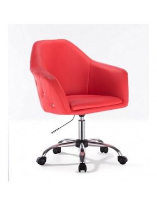 Blink Zet - Fotel fryzjerski czerwony z kółkami