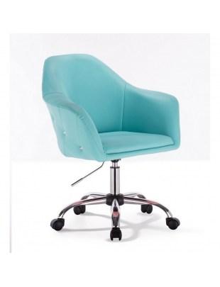 Blink Zet - Fotel fryzjerski turkusowy z kółkami