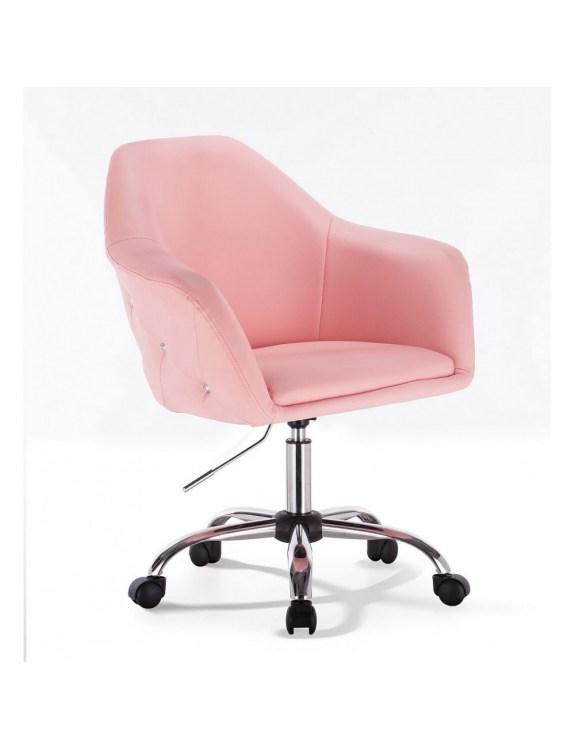 Blink Zet - Fotel fryzjerski różowy z kółkami