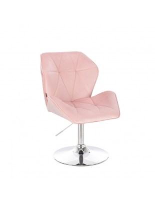 CRONO - Krzesło kosmetyczne pudrowy róż welur WYBÓR PODSTAW