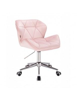 Krzesło kosmetyczne PETYR pudrowy róż - na kółkach chrom