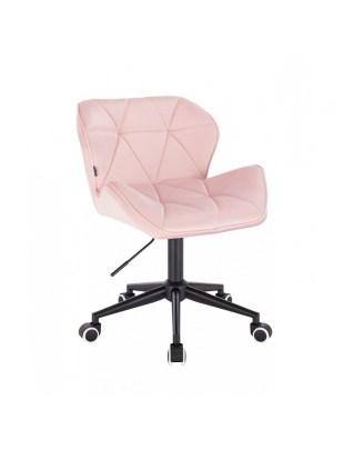Krzesło kosmetyczne PETYR pudrowy róż - kółka czarne