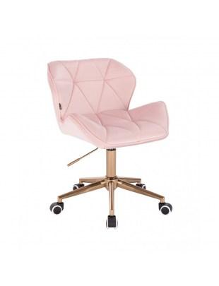 Krzesło kosmetyczne PETYR pudrowy róż - złote kółka