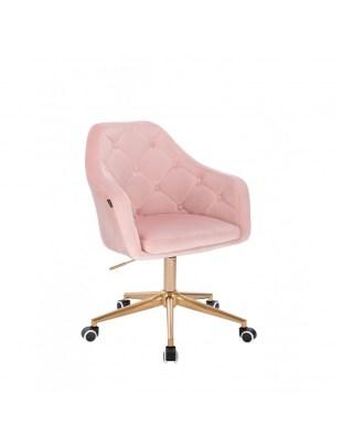 BLERM – Krzesło kosmetyczne pudrowy róż welur - złote kółka