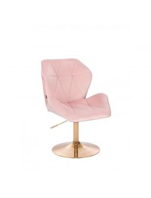 Fotel fryzjerski CRONO pudrowy róż welur - złoty dysk
