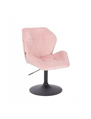 Krzesło kosmetyczne CRONO pudrowy różowy welur - czarny dysk
