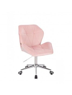 Krzesło kosmetyczne CRONO pudrowy różowy welur - kółka chrom