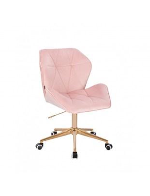 Krzesło kosmetyczne CRONO pudrowy różowy welur - kółka złote