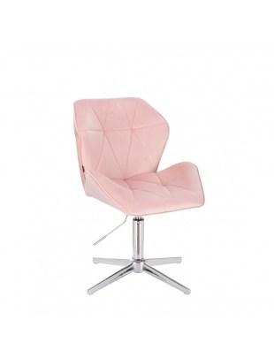 Krzesło kosmetyczne CRONO pudrowy róż welur - krzyżak chrom