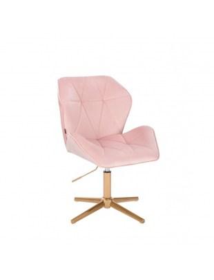 Krzesło kosmetyczne CRONO pudrowy róż welur - złoty krzyżak