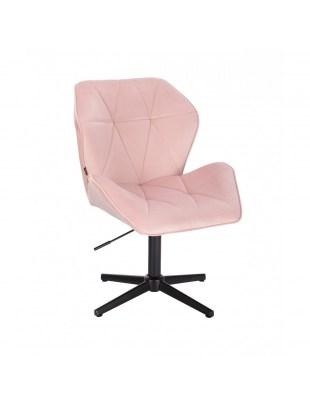 Krzesło kosmetyczne CRONO pudrowy róż welur - czarny krzyżak