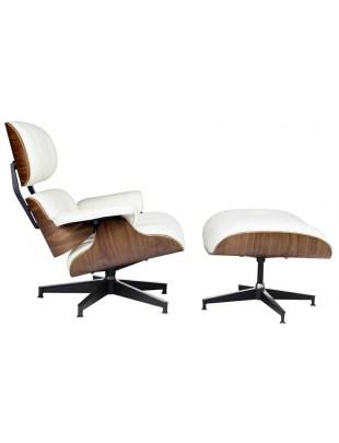 Fotel LOUNGE HM PREMIUM SZEROKI z podnóżkiem biały - sklejka orzech, ekoskóra