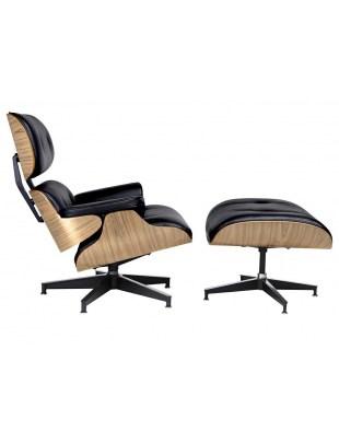 Fotel LOUNGE HM PREMIUM SZEROKI z podnóżkiem czarny - sklejka jesion, skóra naturalna