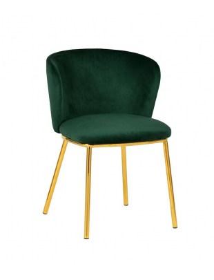 Krzesło MANDY ciemny zielony - welur, podstawa złota