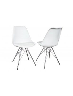 INVICTA Krzesło HUGO białe - podstawa chrom