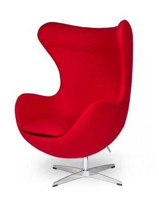 Fotel EGG CLASSIC czerwony.17 - wełna, podstawa aluminiowa