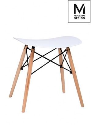 MODESTO stołek BORD biały - polipropylen, podstawa bukowa