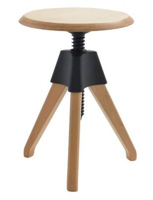 Stołek JERRY czarny - polipropylen, drewno