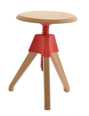 Stołek JERRY czerwony - polipropylen, drewno