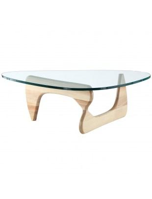 Stolik STABLE - szkło transparentne, podstawa drewniana