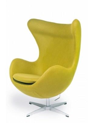 Fotel EGG CLASSIC zielona oliwka.20 - wełna, podstawa aluminiowa