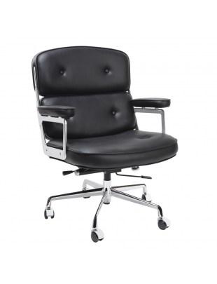 Fotel biurowy ICON PRESTIGE PLUS czarny - włoska skóra naturalna, aluminium