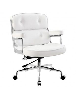 Fotel biurowy ICON PRESTIGE PLUS biały - włoska skóra naturalna, aluminium