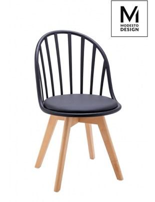 MODESTO krzesło ALBERT czarne - polipropylen, ekoskóra, drewno bukowe