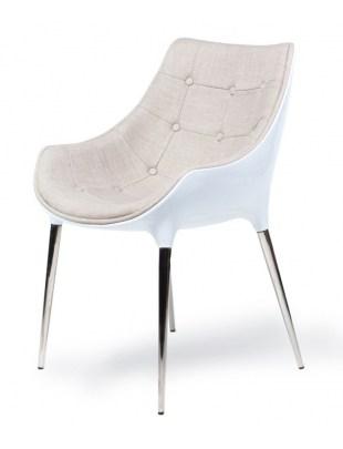 Fotel PASSION beżowo-biały, tkanina - włókno szklane, podstawa chromowana