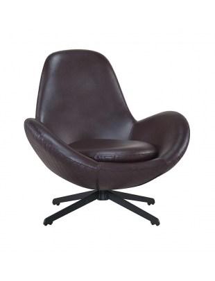 Fotel ALEX brązowy - ekoskóra, metal