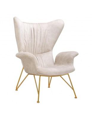 Fotel SHRIMP ALCANTARA beżowy - alcantara, podstawa złota