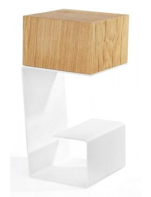 Stolik EGON biały - blat dębowy, podstawa metalowa