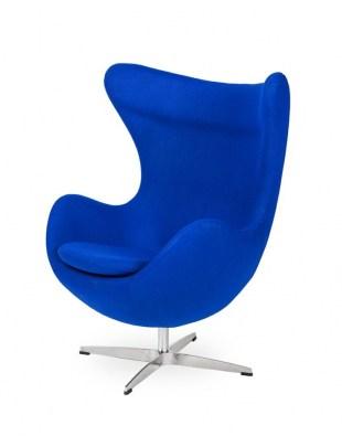 Fotel EGG CLASSIC atramentowy niebieski. 29 - wełna, podstawa aluminiowa