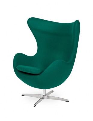Fotel EGG CLASSIC szmaragdowy zielony.41 - wełna, podstawa aluminiowa