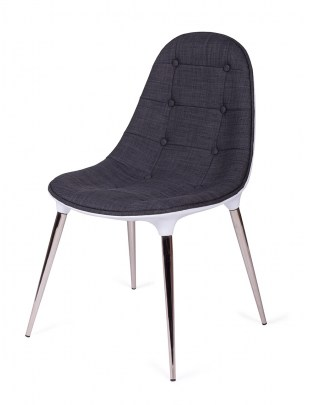 Krzesło PASSION tkanina szaro-białe - włókno szklane, nogi chromowane
