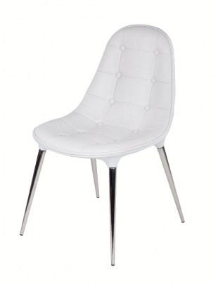 Krzesło PASSION ekoskóra całe białe - włókno szklane, nogi chromowane