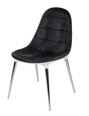 Krzesło PASSION ekoskóra czarno-białe - włókno szklane, nogi chromowane