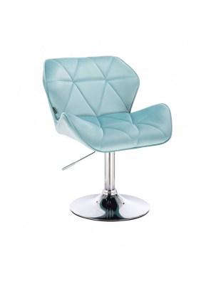 PETYR - Krzesło kosmetyczne pudrowy róż welur WYBÓR PODSTAW
