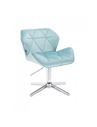 Krzesło kosmetyczne na kółkach PETYR lazurowy welur - kółka chromowane
