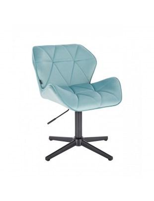 Krzesło kosmetyczne PETYR welur lazurowy - czarny krzyżak