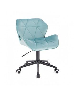 Krzesło obrotowe PETYR welur lazurowy - czarne kółka