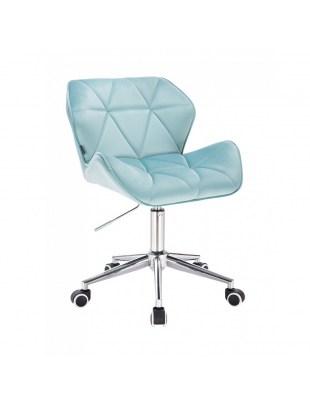 PETYR - Krzesło kosmetyczne welur lazurowy WYBÓR PODSTAW