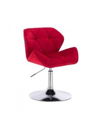 PETYR - Krzesło kosmetyczne czerwone welur WYBÓR PODSTAW